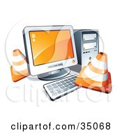 Clipart Illustration Of Construction Cones Around A Desktop Computer by beboy