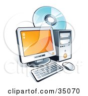 Clipart Illustration Of A Compact Disc Behind A Desktop Computer