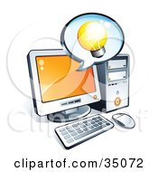 Clipart Illustration Of A Light Bulb On An Instant Messenger Window Over A Desktop Computer Screen by beboy