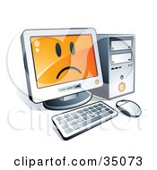 Clipart Illustration Of A Sad Face On A Desktop Computer Screen