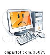 Sad Face On A Desktop Computer Screen