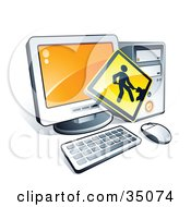 Clipart Illustration Of A Digging Construction Sign Over A Desktop Computer