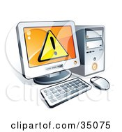 Clipart Illustration Of A Warning Notice On A Desktop Computer Screen