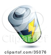 Clipart Illustration Of A Lightning Bolt On A Silver Black And Green Battery
