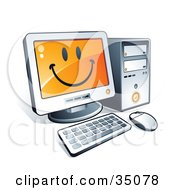 Clipart Illustration Of A Smiley Face On A Desktop Computer Screen by beboy #COLLC35078-0058