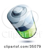 Clipart Illustration Of A Silver Black And Green Battery