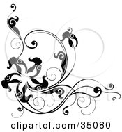 Clipart Illustration Of A Black And White Corner Design With Leafy Vines And A Star Or Starfish