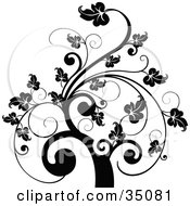 Clipart Illustration Of A Black And White Leafy Scroll Tree Design