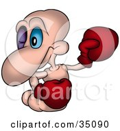Clipart Illustration Of A Pink Worm With A Black Eye Wearing Boxing Gloves During A Fight by dero