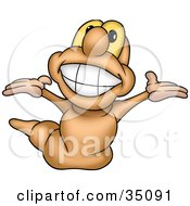 Joyous Earth Worm With Yellow Eyes Grinning And Looking Upwards