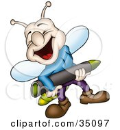 Clipart Illustration Of A Laughing Lightning Bug In Clothes Carrying A Green Crayon by dero