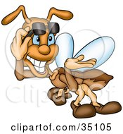 Clipart Illustration Of A Confident Brown Fly Lifting Up His Shades And Smiling by dero