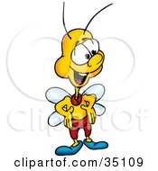 Clipart Illustration Of A Friendly Yellow Fly With His Hands On His Hips by dero