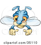 Clipart Illustration Of A Cute Blue Fly With Big Orange Eyes by dero