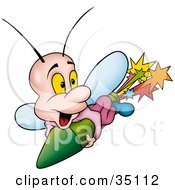 Clipart Illustration Of A Cute Little Fly Shooting Past On A Green Firework by dero