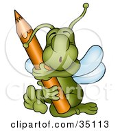 Clipart Illustration Of A Cute Green Bug Hugging And Embracing A Brown Colored Pencil by dero