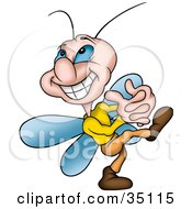 Clipart Illustration Of A Cute Gleeful Little Fly Walking With His Hands Clasped by dero