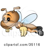 Clipart Illustration Of A Happy Go Lucky Brown Fly Flying by dero