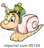 Cute Snail Wearing A Green Hat With A Red Band