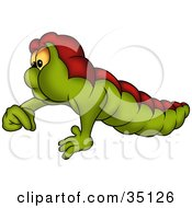 Chubby Green And Red Worm Holding His Fingers Together