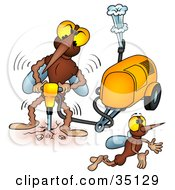 Clipart Illustration Of A Mosquito Flying Away From Another While He Operates A Jackhammer by dero