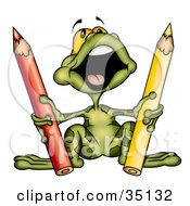 Clipart Illustration Of A Cute Green Frog Singing And Holding Red And Yellow Colored Pencils by dero