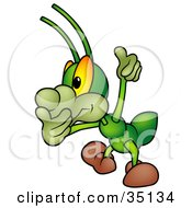 Clipart Illustration Of A Green Cricket Covering His Mouth And Giving The Thumbs Up