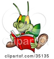 Clipart Illustration Of A Green Cricket Reading An Exciting Story Book by dero #COLLC35135-0053