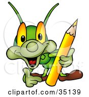 Clipart Illustration Of A Friendly Green Artistic Cricket Holding A Yellow Colored Pencil by dero