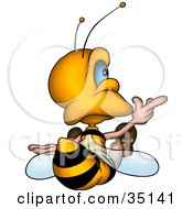 Clipart Illustration Of A Cute Little Bee Sitting And Pointing Right As Seen From Behind