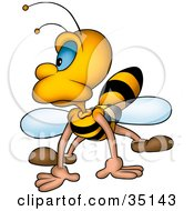 Clipart Illustration Of A Grumpy Honeybee Landing And Looking To The Left