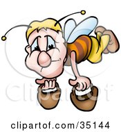 Clipart Illustration Of A Depressed Worker Bee Carrying Two Pails