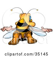 Clipart Illustration Of A Honey Bee Sticking His Butt In The Air