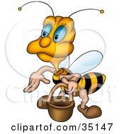 Clipart Illustration Of A Cute Blue Eyed Worker Bee Carrying A Pail