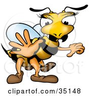 Clipart Illustration Of A Female Wasp With Pretty Eyelashes Holding One Hand Out