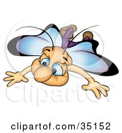Clipart Illustration Of A Cute Blue Eyed Butterfly With Blue And Purple Wings Flying Forward by dero
