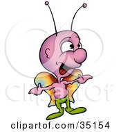 Clipart Illustration Of A Purple Butterfly With Colorful Wings Wearing Green Pants And Singing by dero