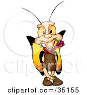 Clipart Illustration Of A Adorable Male Butterfly With Yellow And Orange Wings Holding A Flower In His Mouth