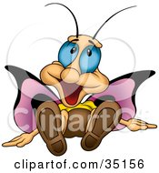 Clipart Illustration Of A Goofy Purple Winged Butterfly With Blue Eyes Laying On The Ground by dero