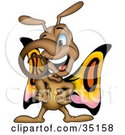 Clipart Illustration Of A Curly Nosed Butterfly Standing With His Hands On His Hips by dero