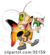 Clipart Illustration Of A Sweet Green Eyed Butterfly With Orange Wings Holding Out A Bouquet Of Flowers