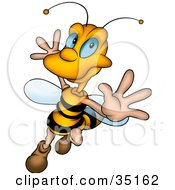 Clipart Illustration Of A Flamboyant Honey Bee Dancing And Flying