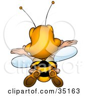 Clipart Illustration Of A Happy Bumble Bee Flying Away