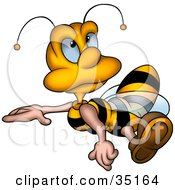 Clipart Illustration Of A Little Honey Bee Flying And Looking Upwards