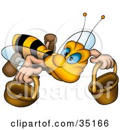 Clipart Illustration Of A Cute Worker Bee With Blue Eyes Carrying Two Buckets