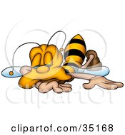 Clipart Illustration Of An Exhausted Honeybee Collapsed And Falling Asleep by dero #COLLC35168-0053