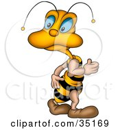 Clipart Illustration Of A Cute Little Blue Eyed Bee Looking Back Over Its Shoulder