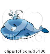 Clipart Illustration Of A Happy Blue Whale Shooting Water Out Of His Blow Hole