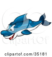 Happy Blue And White Dolphin Swimming Underwater