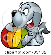 Clipart Illustration Of A Playful Little Seal With A Colorful Beach Ball by dero